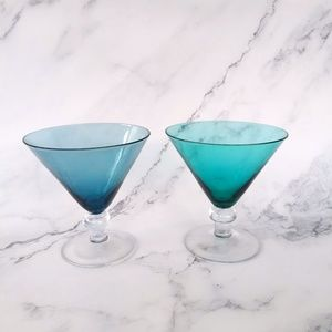 Green and Blue Vintage Martini Glasses